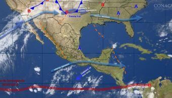 Mapa con el pronóstico del clima para este 30 de noviembre; frente frío 12 provocará bajas temperaturas y vientos fuertes en México. (SMN)