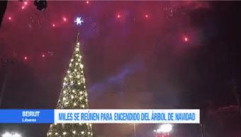 Encienden Árbol Navidad Plaza Mártires Beirut