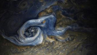 Fotografía tomada por NASA de la supertormenta de Júpiter