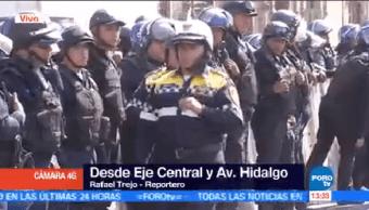 Policía Cdmx Impide Paso Manifestantes Eje Central