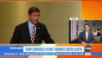 Trump compadece a Flynn y arremete contra Clinton