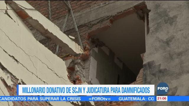 SCJN y Judicatura realizan donativo millonario para damnificados de sismos