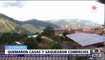 Hombres armados incendian viviendas en Leonardo Bravo, Guerrero