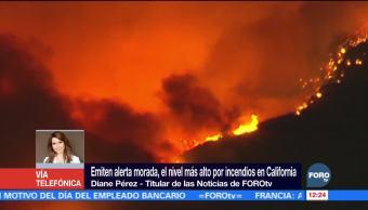 Emiten alerta morada por incendios en California