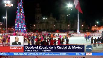 Inauguran la pista de hielo del Zócalo capitalino