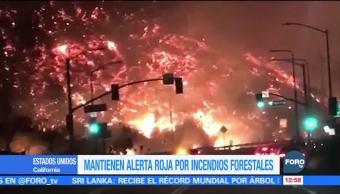 Bomberos mantienen la alerta roja por incendios forestales en California