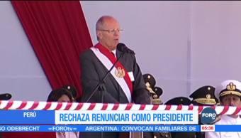 Presidente de Perú dice que no renunciará por caso Odebrecht