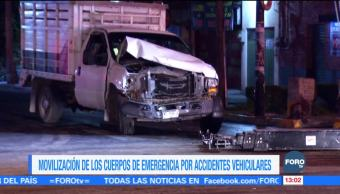 Movilización de los cuerpos de emergencia por accidentes vehiculares
