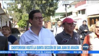 Chertorivski visita la quinta sección de San Juan de Aragón