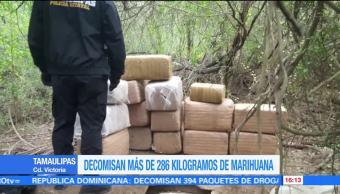 Policía de Tamaulipas decomisa 286 kilos de marihuana