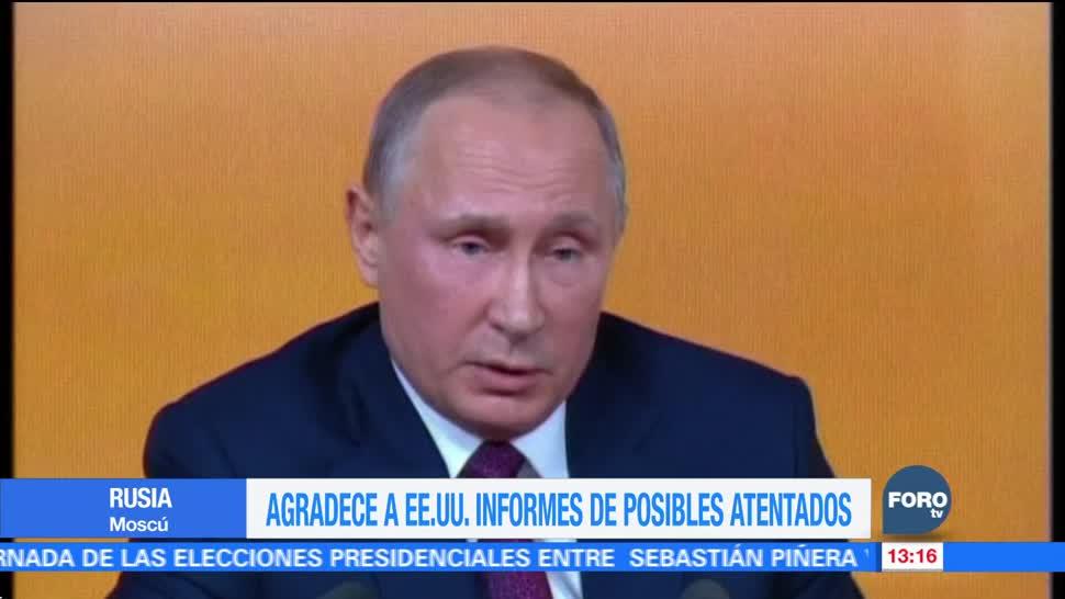 Putin agradece a Trump informes que evitaron atentados