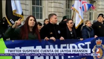 Twitter suspende cuenta de la política ultraderechista británica Jayda Fransen