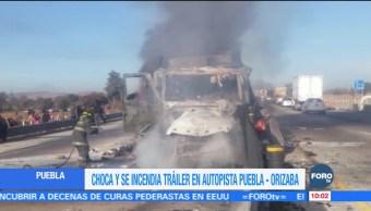 Choca tráiler en la autopista Puebla-Orizaba; hay un lesionado