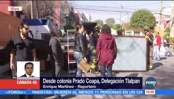 Bomberos retiran menaje de edificio dañado tras sismo 19S en Prado Coapa
