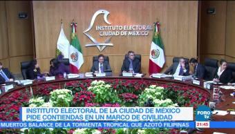 Instituto Electoral de la CDMX pide contiendas en un marco de civilidad