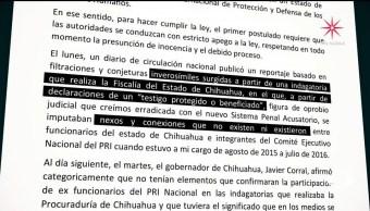 Beltrones rechaza acusación contra excolaborador acusado de desvío de recursos
