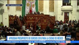 Asamblea Legislativa de CDMX aprueba Presupuesto de Egresos 2018