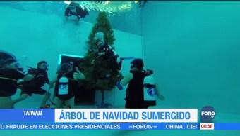 Hotel en Taiwán coloca árbol de navidad en su piscina