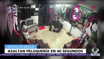 En 40 segundos asaltan estética en Chalco, Edomex