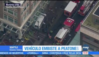 Vehículo embiste a peatones en EU; hay 4 heridos