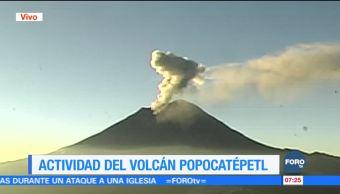 Se registra gran fumarola en el Volcán Popocatépetl