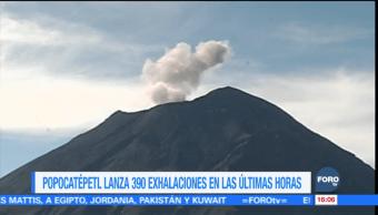 El Popocatépetl registra 390 exhalaciones de baja intensidad en las últimas horas