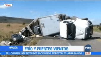 Fuertes Vientos Vuelcan Tráiler Carretera Ventosa Oaxaca