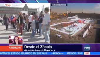 Largas Filas Pista Hielo Zócalo Capitalino Ciudad De México