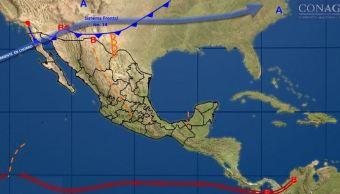 mapa con el pronostico del clima para este 5 de diciembre