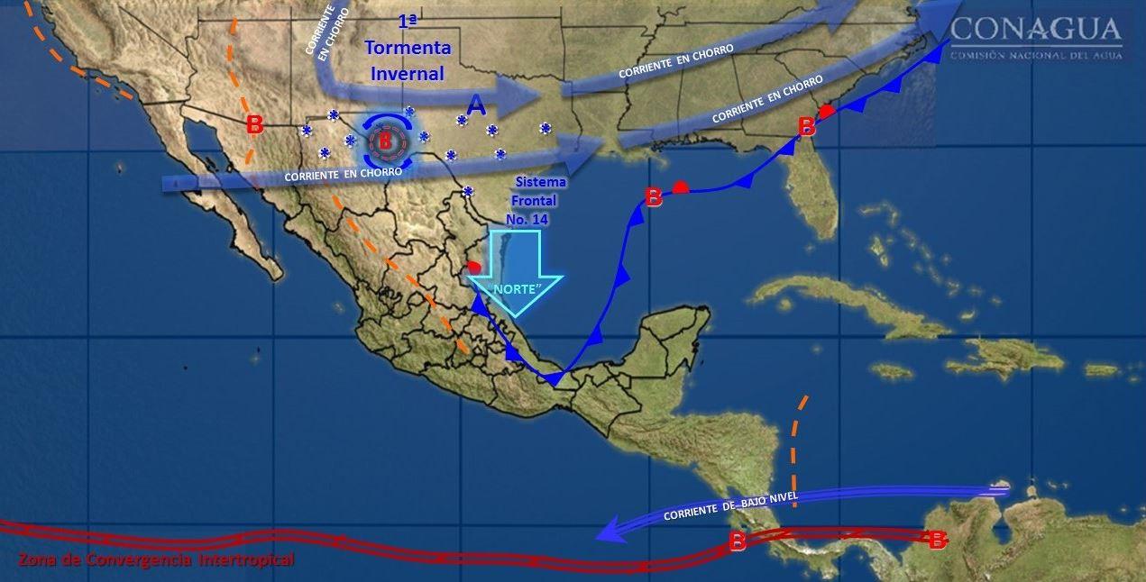 mapa con el pronostico del clima para este 7 de diciembre