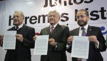 Morena, PT Y PES firman alianza para el 2018