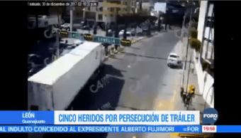 Persecución Tráiler León Guanajuato Deja 5 Heridos