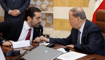 El primer ministro Saad Hariri y el presidente Michel Aoun