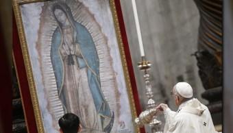 El papa oficia misa en honor a la Virgen de Guadalupe