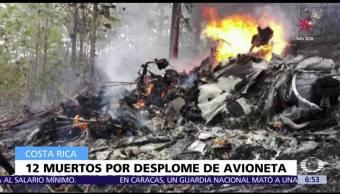 Se desploma avioneta en Costa Rica; hay 12 muertos