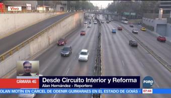 Reportan tránsito fluido en Circuito Interior y Paseo de la Reforma