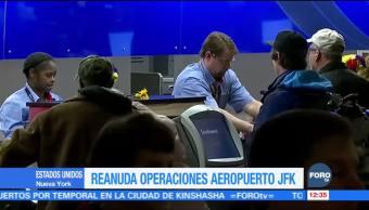 Aeropuerto John F. Kennedy reanuda operaciones tras tormenta invernal