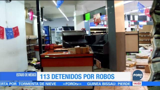Suman 113 detenidos por robos a comercios en el Estado de México