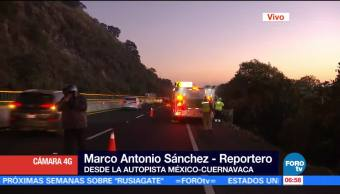 Accidente en la autopista México-Cuernavaca ocasiona reducción de carriles