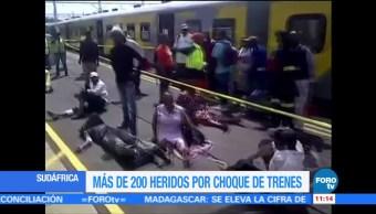 Choque de trenes en Sudáfrica deja decenas de heridos
