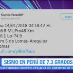Sismo de magnitud 7.3 grados sacude el sur de Perú