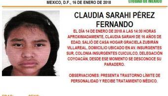 Activan Alerta Ámber para localizar a una menor extraviada en Coyoacán