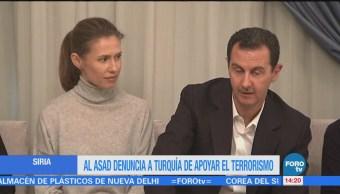Al Asad denuncia a Turquía de apoyar el terrorismo