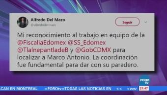 Alfredo Del Mazo Agradece Coordinación Localizar Joven Marco Antonio Sánchez