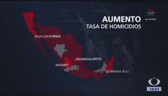 Aumenta la tasa de homicidios en México