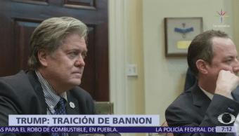 Donald Trump dice que se siente traicionado por Steve Bannon y resta importancia al papel del exestratega en la Casa Blanca
