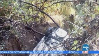 Cae camioneta a barranca en Cuajimalpa