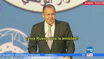 Canciller ruso es interrumpido durante discurso