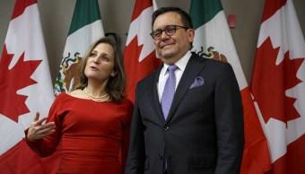 Chrystia Freeland e Ildefonso Guajardo sostienen reunión bilateral