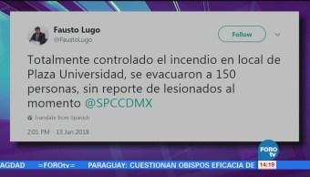 Controlan Incendio Plaza Universidad, Informa Protección Civil Cdmx